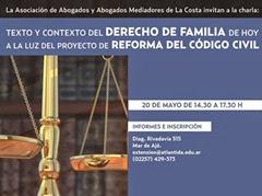 Charla: Texto y contexto del Derecho de familia de hoy a la luz del proyecto de reforma del Código Civil