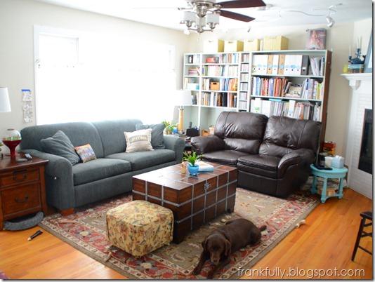 living room with bookshelves in progress