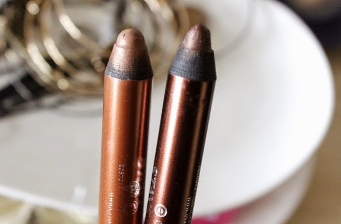 essence Stays No Matter What Jumbo Eye Pencil - 05 Cute Copper & 08 Chocolate Brownie review and swatch