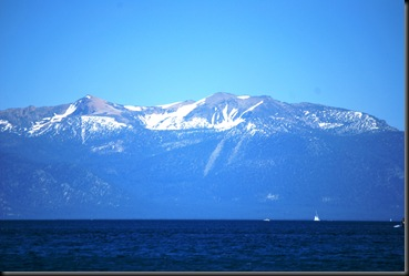 Lake Tahoe and snowy mountains