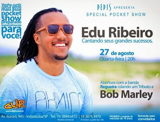 Edu Ribeiro realiza pocket show exclusivo dia 27, quarta-feira, na Pepi's Pizza Bar, em Indaiatuba