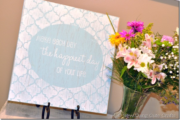 Happiest day sign on table