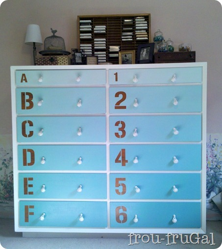 friday feature--ombre dresser with numbers and letters from frou frougal blog