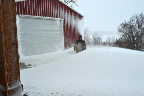 garage snow drift