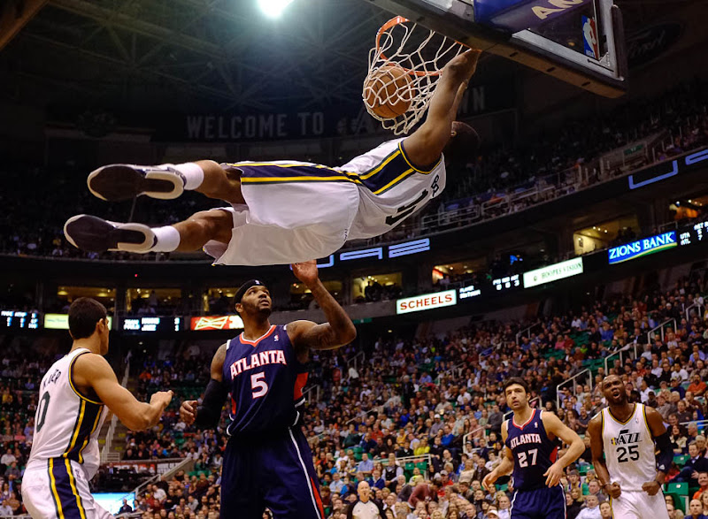 Utah Jazz point guard Alec Burks (10) dunks the ball as the Utah Jazz host the Atlanta Hawks, NBA basketball Wednesday, February 27, 2013 in Salt Lake City