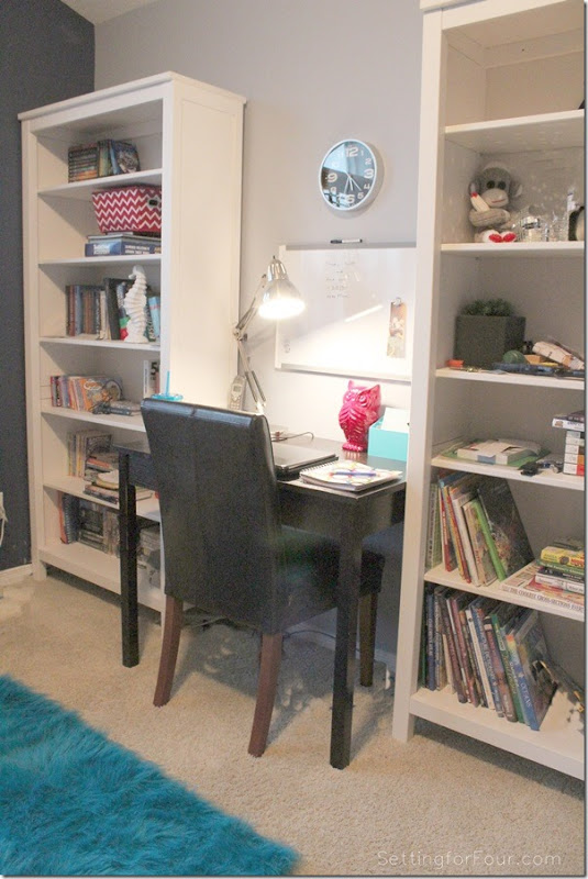 Quick and Easy Kid's Work Space Makeover ww.settingforfour.com