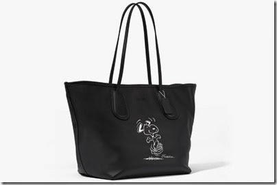 Peanuts X Coach black tote bag