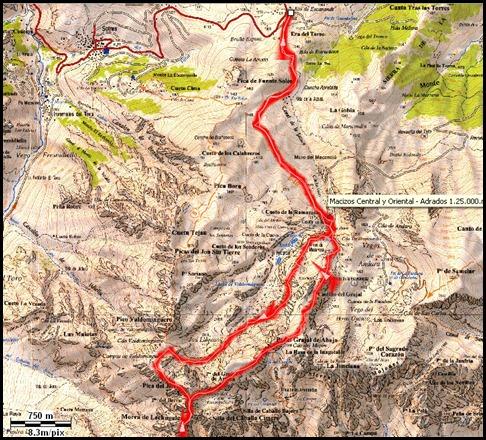 Mapa Jito Escarandi - Jierru 2424m - Lechugales 2444m - Grajal 2349m (Picos de Europa)