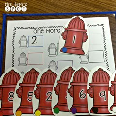 In this center, the kiddos draw a card and add one more to the number.