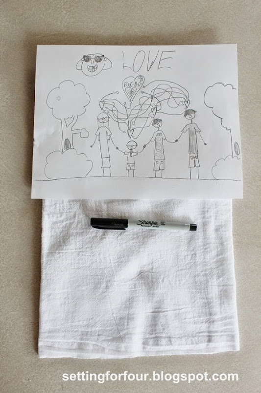 DIY kids art tea towel