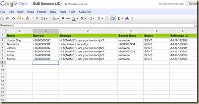 SMS blasting useing spreadsheet
