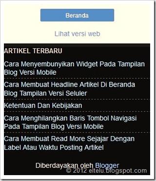 ELTELU - Tampilan Widget Pada Halaman Versi Seluler Standar Blogger