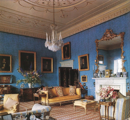The wallpaper in the Blue Drawing Room at Abbey Leix is over a hundred years old.