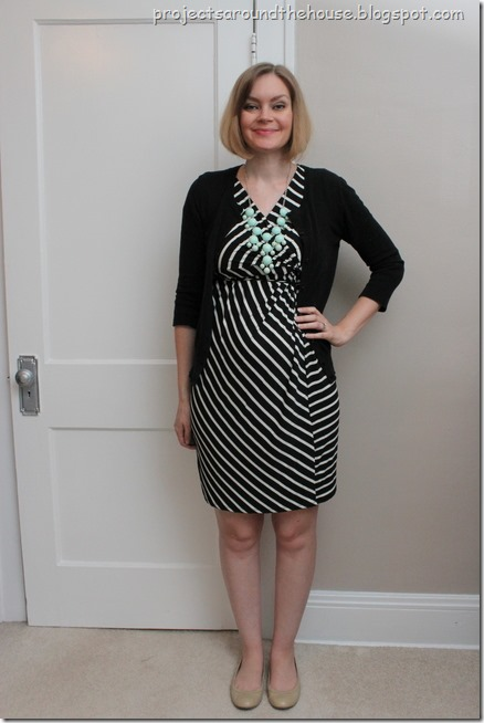 black and white striped dress and mint