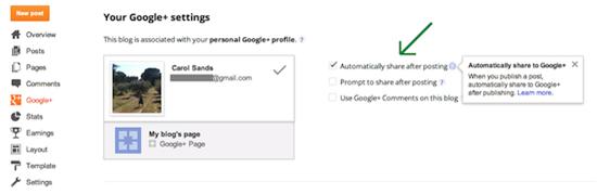 Condivisione dei post su Google