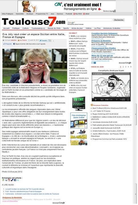 Eva Joly sobre Toulouse7 280811