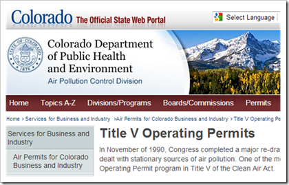 Colorado Department of Public Health and Environment Title V Operating Permits