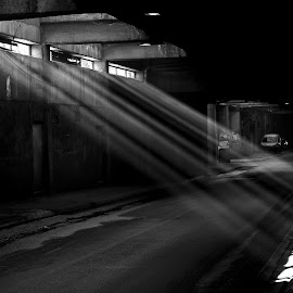Beam in Street by Krenar Halimi - City,  Street & Park  Street Scenes ( canon, window, street, bw, beam, day, sun )
