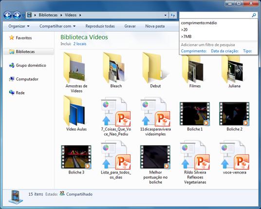 Quando a pesquisa é feita nas bibliotecas Documentos, Imagens, Músicas e Vídeos, o Windows Search oferece filtros específicos para essas bibliotecas