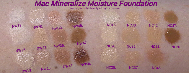 Mac Mineralie Moisture Foundation; Review & Swatches of Shades