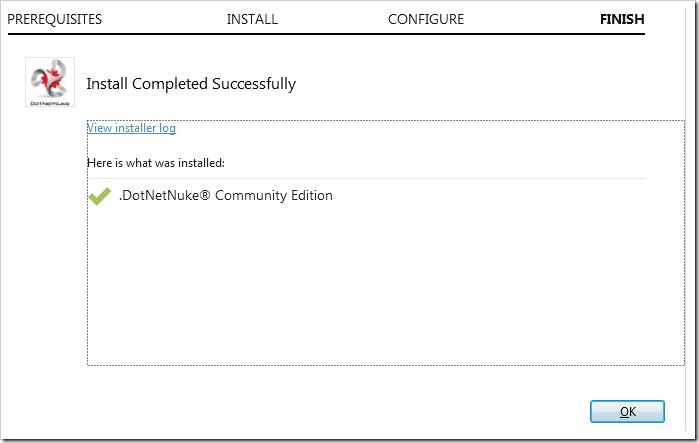 Installing DotNetNuke Community Edition.