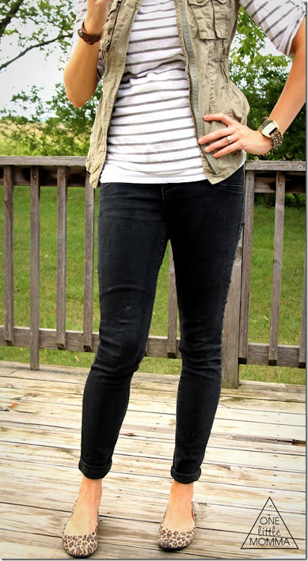 cargo vest, stripes, black denim- easy layers for early Fall
