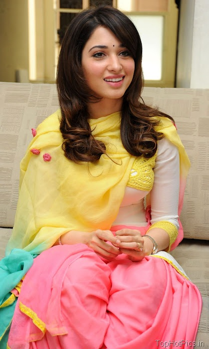 Tamanna Hot in Yellow Indian Dress photos 4