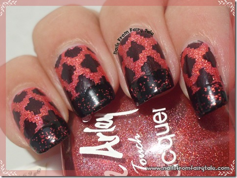 black and red french manicure with stamping 4