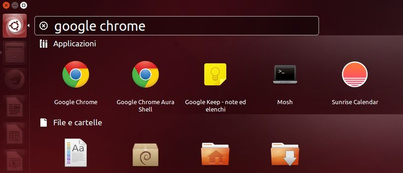 Google Chrome Aura Shell da menu in Linux
