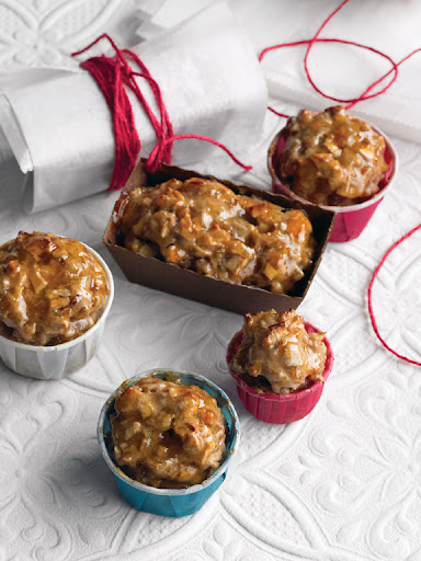 These fruitcakes are loaded with delicious golden fruit with just enough flour to hold it all together! Use any combination of dried fruit and nuts that you like.
