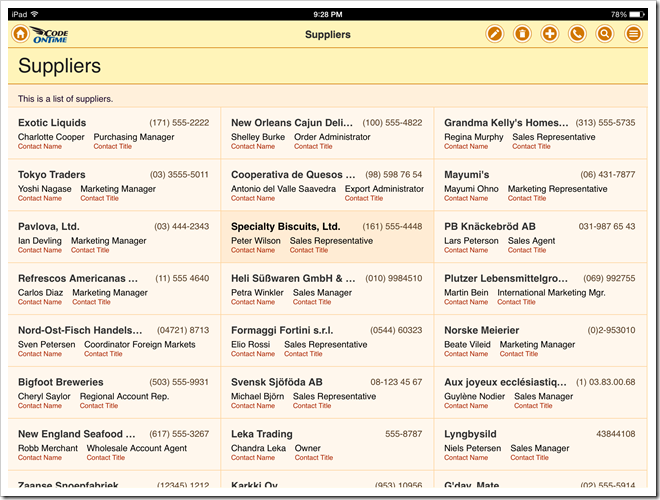 List with the fields tagged as 'item-heading', 'item-desc', and 'item-aside' in an app with Touch UI.