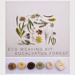 Plant dyed yarns and their natural inspiration for Eco Weaving Kit by Alchemy - Eucalyptus Forest pack