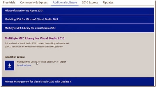 Download Multibyte MFC Library for Visual Studio 2013