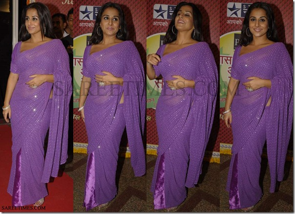 Vidya_Balan_Purple_Designer_Saree