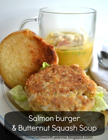 Salmon burger butternut soup