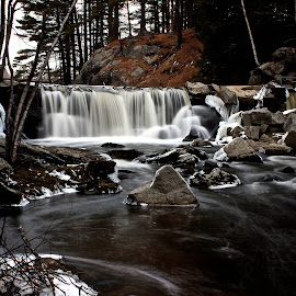 A Lonely Winter Waterfall by Alec Salisbury - Landscapes Waterscapes ( winter, maine, cascade, waterfall )