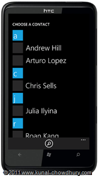 WP7.1 Demo - Email Adress Chooser Task