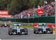 Hamilton e Rosberg nel gran premio del Belgio 2014