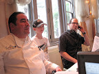 Chef Emeril took a break between guests with his son E.J.