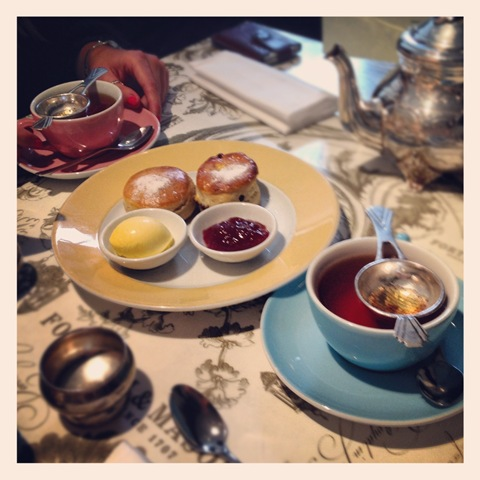 Scones with clotted cream and jam at Fortnum & Mason