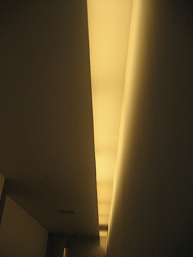 A close up view of the concealed ceiling lighting in the entry hall.  The living room also has this style of lighting.  I think it will really distract from the nighttime views.