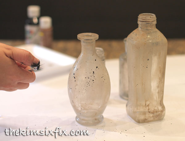 Splatter paint glass jars