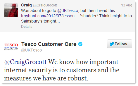 "Continued assertion that Tesco security is ""robust"""