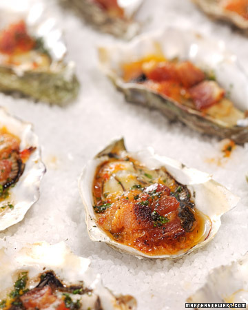 Oysters Casino: Serve these irresistible oysters filled with bacon, red pepper, and celery.