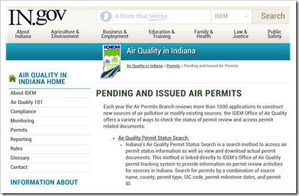 Indiana Environmental IDEM Pending and Issued Air Permits