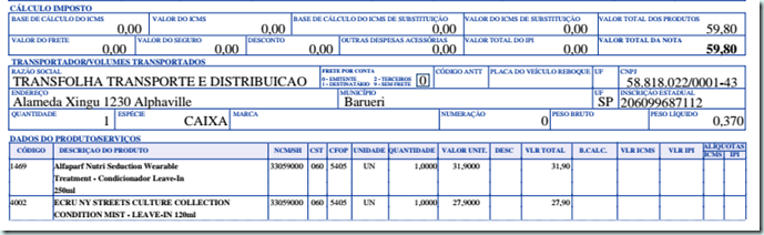 nota fiscal BnW