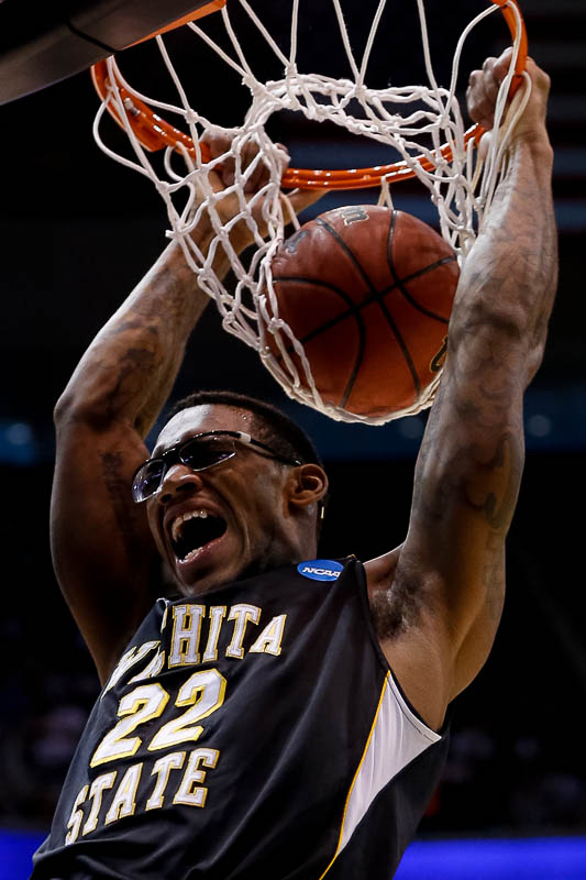 Wichita State's Carl Hall dunks the ball as the Gonzaga Bulldogs face the Shockers