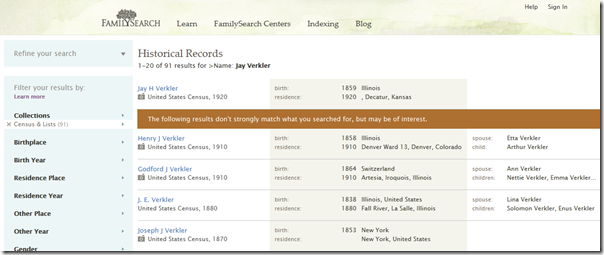 September 2011 FamilySearch.org returned to columnar search results layout