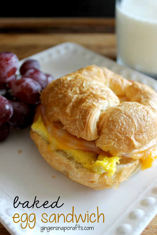 Baked Egg Sandwich at GingerSnapCrafts.com #recipe #eggs