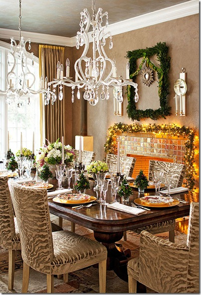 rwo chandeliers in dining room